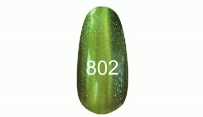 Gel-lacquer Kodi «Moon light» №802 (olive with sparkles, magnetic) Gel-lacquer with the effect of a cat's eye. Metal particles, thanks to the use of a magnet, rise from the total mass of the gel-lacquer and create a flare of Kodi No. 802 running on the surface (olive with sparkles, magnetic)