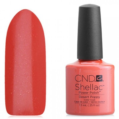Shellac CND Desert Poppy (peach) Gel-varnish CND Shellak Desert Poppy has an incredible strength and durability of the coating, which retains its appearance for at least 14-17 days, lack of chips and damages, ease of application and removal