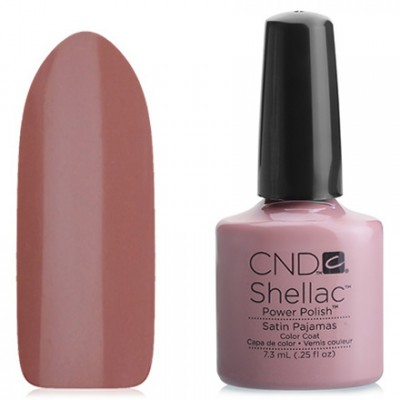 Shellac CND Satin Pajamas (cocoa with milk enamel) Gel-varnish CND Shellak Satin Pajamas has an incredible strength and durability of the coating, which retains its appearance for at least 14-17 days, lack of chips and damages, ease of application and removal